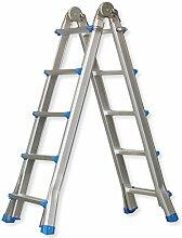 Masko® Aluleiter 5,10m Teleskopleiter ✓Aluminium Multifunktionsleiter ✓ Aluleiter ✓ Klappleiter ✓ Anlegeleiter ✓ Bockleiter ✓ Schiebeleiter ✓ höhenverstellbar beidseitige Steh und Treppenleiter   4 x 5 Sprossen   Länge: 5,10m