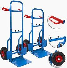 Masko® Sackkarre klappbar 200kg mit Luftbereifung Transportkarre Stapelkarre HÖHENVERSTELLBARE NEU, Farbe:Blau