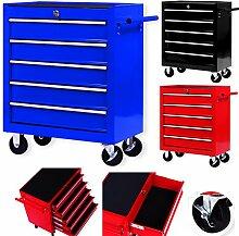 Masko® Werkstattwagen - 5 Schubladen, blau ✓