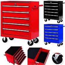 Masko® Werkstattwagen - 5 Schubladen, rot ✓
