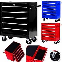Masko® Werkstattwagen - 5 Schubladen, schwarz ✓