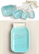 Mason Jar Messlöffel und Löffelablage – Blau