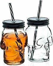 Mason Jar Tasse Totenkopf Glas mit Deckel und