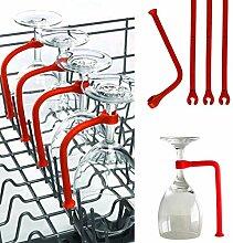 masrin 4einstellen Silikon Wein Glas Spülmaschinenfest Goblet Halter Sicherer Stielglas Saver rot Version, weiß, 4 Pcs