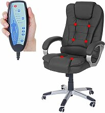 Massage-Bürostuhl Blackburn, Massagestuhl Drehstuhl Chefsessel, Kunstleder ~ schwarz