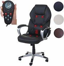 Massage-Bürostuhl HWC-A69, Drehstuhl Chefsessel, Heizfunktion Massagefunktion Kunstleder ~ schwarz
