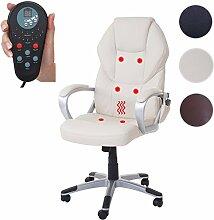 Massage-Bürostuhl HWC-A69, Drehstuhl Chefsessel, Heizfunktion Massagefunktion Kunstleder ~ creme