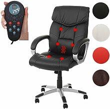 Massage-Bürostuhl HWC-A71, Drehstuhl Chefsessel, Heizfunktion Massagefunkiton Kunstleder ~ schwarz
