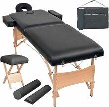 Massageliege 2 Zonen Tragbar mit Hocker 10 cm