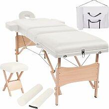 Massageliege 3 Zonen Klappbar mit Hocker 10 cm