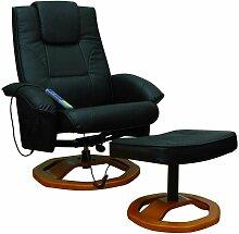 Massagesessel Relaxsessel mit Hocker schwarz