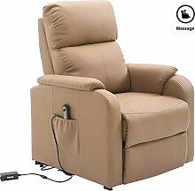Massagesessel TV Fernsehsessel Relaxsessel SNOOZE mit Fußteil, aus Kunstleder in braun/ocker