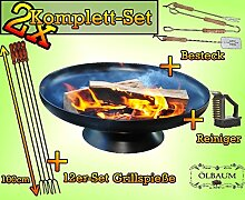 MASSIV Kaminfeuer KOMPLETT SET; 2x FEUERSCHALE GRILL (je nach Wahl mit 4 - 8 - 12x Grillspiessen) mit Zubehör grillzubehör+Spieße+Bürste und Besteck