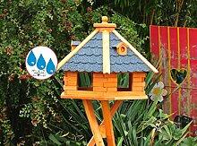 Massiv-Vogelhaus, XXL ca. 70-75 cm, wetterfest Massivdach, mit Silo/Futtersilo für Winterfütterung,Gartendeko aus Holz blau grau BGX75blOS Vogelhäuser