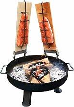 Massive Feuerschale 80cm + 2 Flammlachsbretter + 5