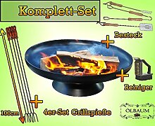Massive Feuerstelle mit Besteck sowie Reinigungsbürste und 4 Grillspieße zur FEUERSCHALE GRILL (je nach Wahl mit 4 - 8 - 12x Grillspiessen) mit Zubehör grillzubehör