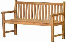 Massive Gartenbank Andorra aus Teakholz, 150cm ✓ Wetterfest ✓ Nachhaltiges Plantagenholz ✓ Klassisch geformte Balkon-Bank, Sitzbank aus Holz | Teakbank, 2-Sitzer mit Lehne für den Garten | Teak-Holzbank, Parkbank für draußen