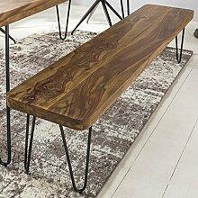Massive Sitzbank 120 x 40 cm HARLEM Sheesham Holz Bank für Esstisch Massiv | Küchenbank Massivholz | Essbank ohne Lehne für Esszimmer