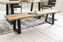Massive Sitzbank 160 cm TREE Ohne Lehne Baumkante Akazie Massivholz | Küchenbank Massiv Holz Holzbank | Esszimmer Bank Baumstamm Essbank Holzbank