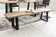 Massive Sitzbank 180 cm TREE Ohne Lehne Baumkante Akazie Massivholz | Küchenbank Massiv Holz Holzbank | Esszimmer Bank Baumstamm Essbank Holzbank