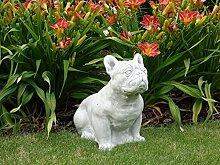 Massive Stein Bulldogge Bully Hund Gartendeko Raumdeko aus Steinguss frostfes