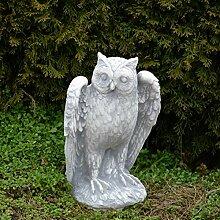 Massive Stein - Eule Uhu aus Steinguss frostfest Raumdeko Gartendeko