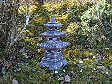 Massive Steinlaterne Pagode japanische Steinlaterne Farbe antik aus Steinguss frostfes