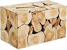 Massiver Baumstamm Couchtisch SQUARE 80cm aus Teak Holz Elementen Beistelltisch Teakholz Holztisch