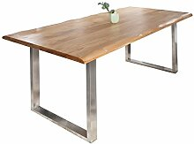 Massiver Baumstamm Tisch GENESIS 180 cm Eiche Massivholz Baumkante Esstisch Konferenztisch Holztisch mit Kufengestell aus Edelstahl