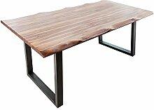 Massiver Baumstamm Tisch GENESIS 180cm Akazie Massivholz Baumkante Esstisch mit Kufengestell Industrial Finish