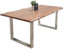 Massiver Baumstamm Tisch GENESIS 200cm Akazie Massivholz Baumkante Esstisch mit Kufengestell aus Edelstahl Holztisch