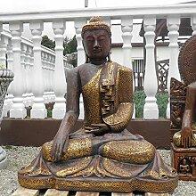 Massiver riesiger Stein Buddha Farbe exclusiv Gartendeko Raumdeko Steinguss
