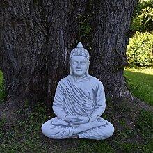 Massiver riesiger Stein Buddha Mönch Gartendeko Raumdeko aus Steinguss, frostfes