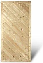 """Massiver Sichtschutz Dichtzaun im Maß 90 x 180 cm (Breite x Höhe) mit Profilbrett Design aus Kiefer / Fichte Holz, druckimprägniert """"Stuttgart Massiv"""