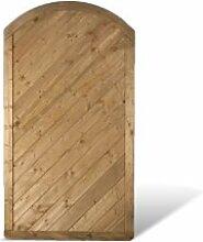 """Massiver Sichtschutz Holz Gartenzaun im Maß 100 x 180 auf 160 cm (Breite x Höhe) mit diagonalem Profilbrett Design + Bogen aus Kiefer / Fichte Holz, druckimprägniert """"Stuttgart Massiv"""