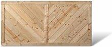 """Massiver Sichtschutz Vorgartenzaun im Maß 180 x 90 cm (Breite x Höhe) mit Profilbrett Design aus Kiefer / Fichte Holz, druckimprägniert """"Stuttgart Massiv"""