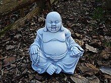 Massiver Stein Buddha lachende Mönch Gartendeko Raumdeko Steinguss frostfes