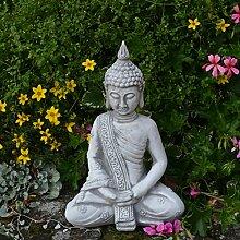 Massiver Stein Buddha Mönch Gartendeko Raumdeko aus Steinguss frostfes