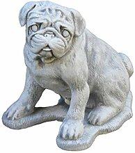 Massiver Stein Hund Mops Gartendeko aus Steinguss