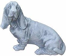 Massiver Stein Hund Rauhaardackel Dackel
