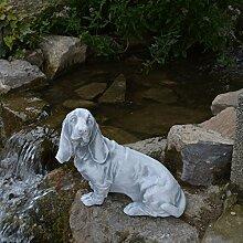 Massiver Stein Hund Rauhaardackel Dackel Gartendeko Steinguss frostfes