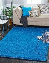 Massives 5cm Shaggy, blau, 60 x 110 cm