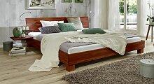 Massives Futonbett aus Buche kirschbaumfarben