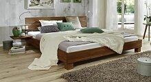Massives Futonbett aus Buche nussbaumfarben