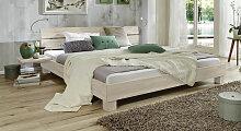 Massives Futonbett aus Buche weiß 140x200 cm, Mera
