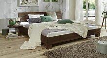 Massives Futonbett aus Buche wengefarben 140x200