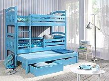 Massivholz 190x80 Blau Kiefer Etagenbett 3Liegeflächen inkl.3Matratzen Hochbett JAKUB III