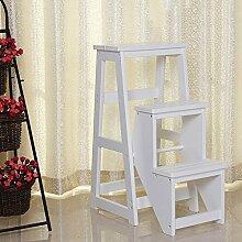 Massivholz 3 Schritte Hocker Treppen Flip faltbare Leiter Multifunktions Haushalt Kreativität (Farbe : Weiß)