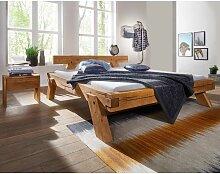 Massivholz Balkenbett mit Nachtkonsolen aus Kiefer