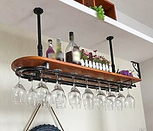 Massivholz Bar Rack Glas, Weinregal, hängende Glasregal, Weinglas Rack, Weinregal auf den Kopf gestellt ( Farbe : Schwarz , größe : 100*28cm )